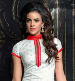 OFFICE WEAR OFF-WHITE SALWAR SUIT WITH RED SALWAR AND DUPATTA