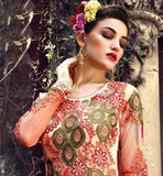 RED HEAVY ZARI SILK THREADWORK WITH STONE WORK AND LACE BORDER SHADED DRESS DESIGNER SOFT NET TOP WITH MATCHING SANTOON BOTTOM AND NET DUPATTA