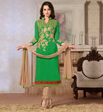 ELEGANT GREEN STRAIGHT CUT KAMEEZ WITH CHURIDAR AND DUPATTA