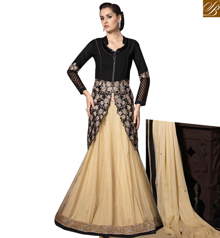 STYLISH BAZAAR ATTRACTIVE BLACK SILK EMBEDDED TOP WITH CREAM COLOR LEHENGA SLMHK20010