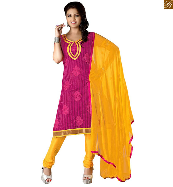 Punjabi dress patterns simple salwar kameez suits online india pink cotton floral embroidered salwar kameez with patch work on neck line and yellow churidar bottom image