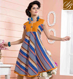 PAKISTANI STYLISH KURTI DESIGNS COLLECTION OF LATEST STYLE GLORIOUS BLUE COTTON RAYON FABRIC PRINTED KURTI FOR CASUAL WEAR