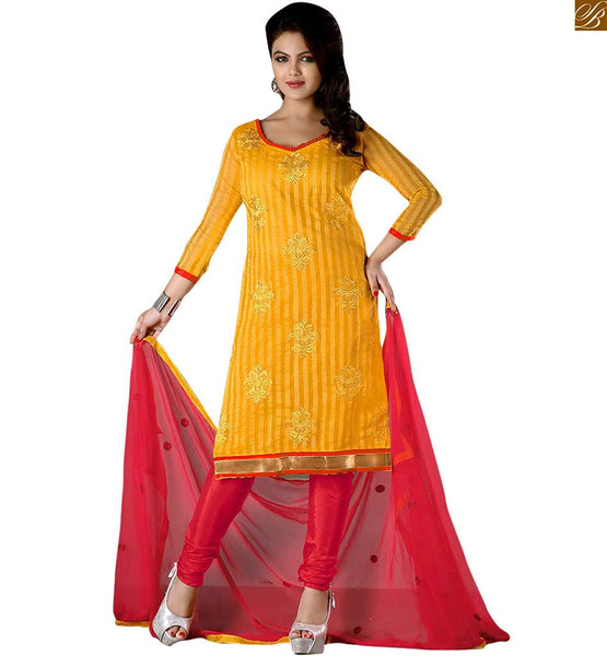 Latest pakistani dresses salwar kameez designs 2015 fashion yellow cotton three fourth type designer sleeves salwar kameez with border line and pink bottom image
