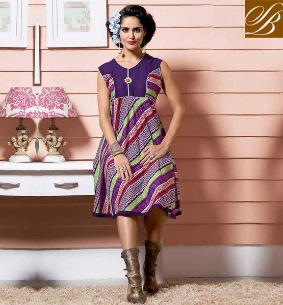 STYLISH KURTIS DESIGN 2015 BEST AND LATEST TUNIC DESIGN LOVELY PURPLE COTTON RAYON FABRIC KURTI STYLE FOR ANY SPECIAL OCCASION