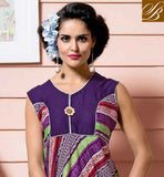 LOVELY PURPLE COTTON RAYON FABRIC KURTI STYLE FOR ANY SPECIAL OCCASION WONDERFUL CONTRAST YOKE AND BORDER ACCENTUATES KURTIS DESIGN