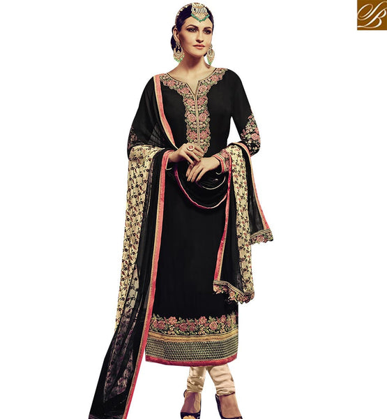 STYLISH BAZAAR PLEASING BLACK GEORGETTE STRAIGHT CUT SALWAR KAMEEZ WITH FULL EMBROIDERED SLEEVES RTFRS2001