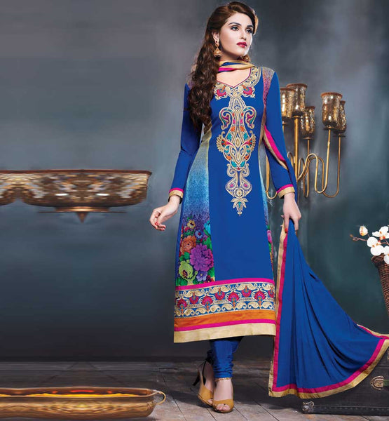 BLUE EMBROIDERED GEORGETTE STRAIGTH SALWAR KAMEEZ STYLISHBAZAAR