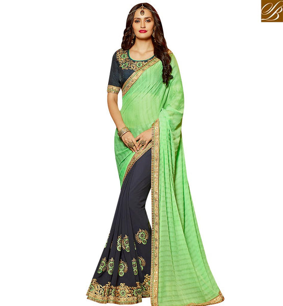 STYLISH BAZAAR STRIKING GREY AND GREEN GEORGETTE HALF N HALF WEAR DESIGNER SAREE WITH PARTY EMBROIDERED SLARD2001