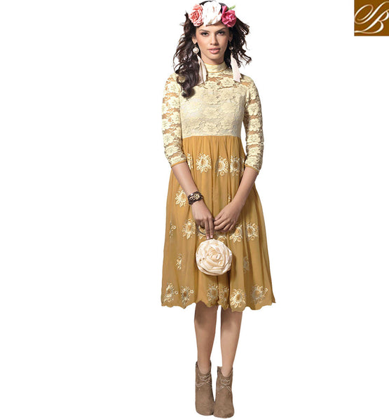 GRACEFUL LONG FLOWERY PATTERN KURTI DESIGN VDSCH2001 BY BEIGE & OFF WHITE
