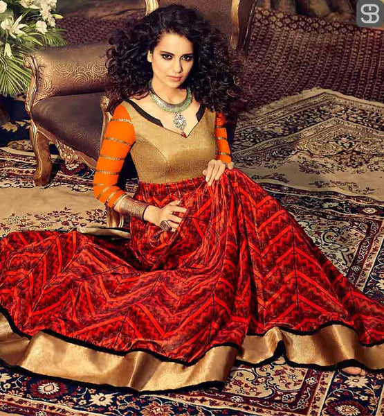 KANGANA RANAUT FOR FAMOUS FASHION DESIGNER ARCHANA KOCHHAR RED COLOR GEORGETTE ANARKALI WITH LYCRA SALWAR, SATIN INNER AND CHIFFON DUPATTA