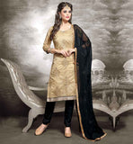 KURTA STYLE PATTERNS DRESS OF STRIGHT CUT SHALWAR KAMEEZ DESIGNS OF SUIT FOR WOMEN CHANDERI FABRIC BEIGE KAMEEZ WITH BLACK COTTON SALWAR AND NAZNEEN DUPATTA