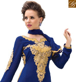 BLASTIC BLUE IN STRAIGHT CUT LONG SLEEVES WITH FLORAL EMBROIDERY SHOWCASE YOUR REAL BEAUTY BY GETTING DRESSED IN THIS EYE-CATCHING SUIT WITH RICH GOLDEN EMBROIDERY WORK ON NECK, BACK AND SLEEVES