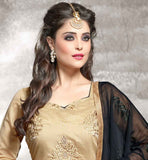 CHANDERI FABRIC BEIGE KAMEEZ WITH BLACK COTTON SALWAR AND NAZNEEN DUPATTA BEUTIFULL DESIGNER STRAIGHT CUT SALWAR KAMEEZ WITH FLORAL EMBROIDERY