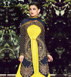 YELLOW HEAVY ZARI, SILK THREADWORK WITH STONE WORK AND LACE BORDER LONG KOTI ANARKALI NAVY BLUE DESIGNER JACKET, NET DRESS WITH SANTOON SALWAR AND NET DUPATTA