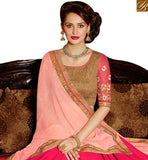 FROM THE HOUSE OF STYLISH BAZAAR REMARKABLE PINK AND PEACH GEORGETTE HALF N HALF PARTY WEAR EMBROIDERED SAREE SLARD2002