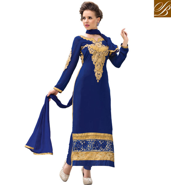 SALWAR SUIT NECK DESIGNS WITH IMAGES FOR SHOPPING  BLASTIC BLUE IN STRAIGHT CUT LONG SLEEVES WITH FLORAL EMBROIDERY