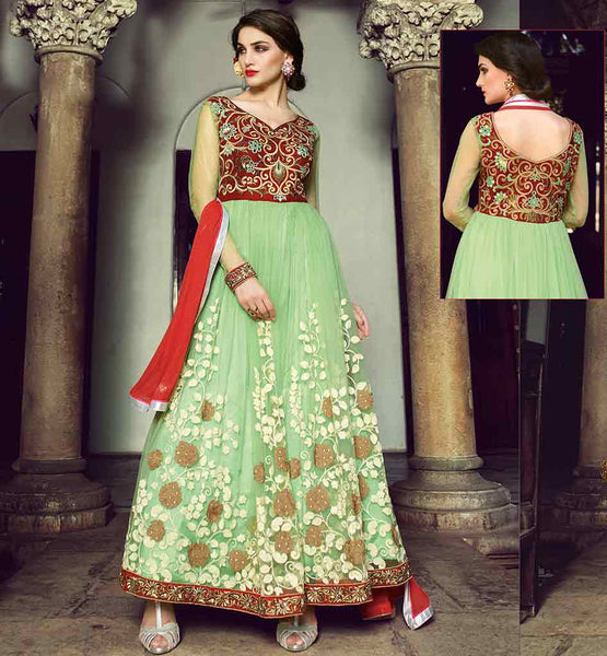 ANARKALI FROCK 2015 FOR FESTIVALS SPECIAL EVENTS EXCITING FLORAL PATTERN HEAVY ZARI, SILK THREADWORK, EMBROIDERY BUTTA WITH STONE WORK AND LACE BORDER DRESS
