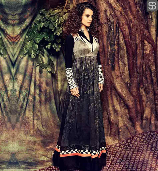 KANGANA RANAUT DRESS DESIGNED BY ACE BOLLYWOOD DESIGNER ARCHANA KOCCHAR BLACK COLOR GEORGETTE DRESS WITH CHIFFON DUPATTA, LYCRA SALWAR AND INNER