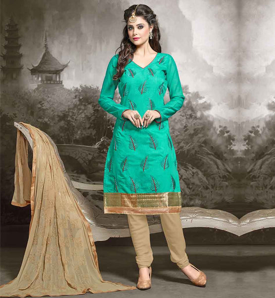 PATTERNS OF LONG SLEEVE DRESSES SHALWAR KAMEEZ DESIGNS OF STYLISH SUITS ONLINE CHANDERI FABRIC GREEN KAMEEZ WITH BEIGE COTTON SALWAR AND NAZNEEN DUPATTA
