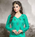 CHANDERI FABRIC GREEN KAMEEZ WITH BEIGE COTTON SALWAR AND NAZNEEN DUPATTA GREEN AND BEIGE COLOR DRESS BEUTIFULLY DECORATED WITH BUTTAS ON TOP AND BACK WITH ZIGZAG
