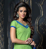 GORGEOUS V NECK GREEN SALWAR KAMEEZ WITH BLUE SALWAR