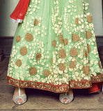 DESIGNER GREEN NET AND VELVET KAMEEZ WITH SANTOON SALWAR AND NET DUPATTA ANARKALI FROCK 2015 FOR FESTIVALS SPECIAL EVENTS
