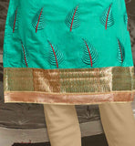 GREEN AND BEIGE COLOR DRESS BEUTIFULLY DECORATED WITH BUTTAS ON TOP AND BACK WITH ZIGZAG PATTERNS OF LONG SLEEVE DRESSES SHALWAR KAMEEZ DESIGNS OF STYLISH SUITS ONLINE VDISH2003