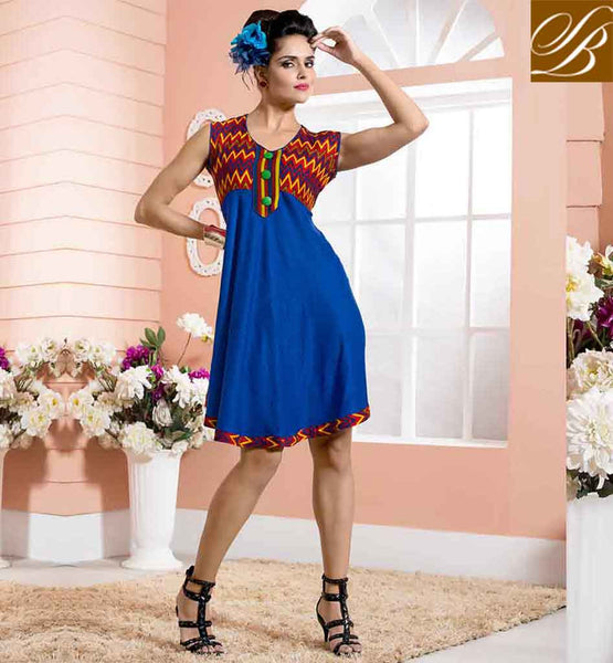 PAKISTANI KURTI DESIGNS FOR GIRLS WEARING  WITH PALAZZO DELUXE BLUE COTTON RAYON FABRIC KURTIS, LOOK LIKE BOLLYWOOD HEROIN