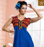 DELUXE BLUE COTTON RAYON FABRIC KURTIS, LOOK LIKE BOLLYWOOD HEROIN OUTSTANDING BLUE COLOR WITH RAYON FABRIC PRINTED KURTIS FOR ANY PARTY AND ROMANTIC DATES
