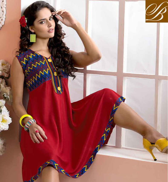 LATEST KURTI NECK DESIGNS FOR GIRLS 2015 BEST  PATTERNS WONDERFUL RED COLTTON RAYON FABRIC KURTI, LOOK LIKE EXCELLENT PERSONALITY