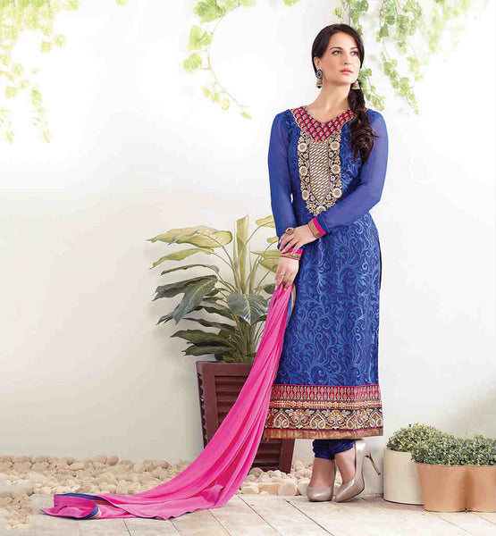 ELLI AVRAM BEAUTIFUL BLUE BRASSO STRAIGHT PATTERN SALWAR KAMEEZ DRESS