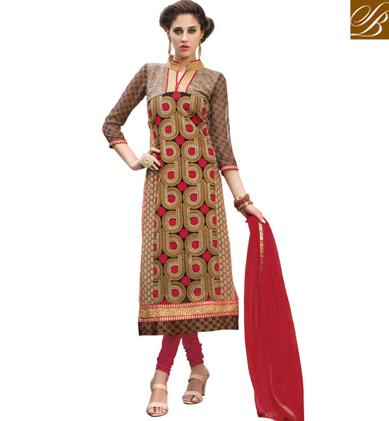 TRENDY SALWAR KAMEEZ NECK DESIGNS 2015 FASHION  DESIGNER GEORGETTE  FABRIC IN STRAIGHT CUT SALWAR KAMEEZ WITH CHIFFON DUPATTA