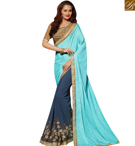 STYLISH BAZAAR ELEGANT GREY AND SKY BLUE GEORGETTE PARTY WEAR DESIGNER SAREE WITH EMBROIDERED DHUPION SILK BLOUSE SLARD2003
