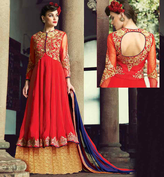 ANARKALI FROCK DESIGN INSPIRED FROM BOLLYWOOD DOUBLE LAYERED HEAVY ZARI, SILK THREADWORK WITH STONE WORK AND LACE BORDER DRESS