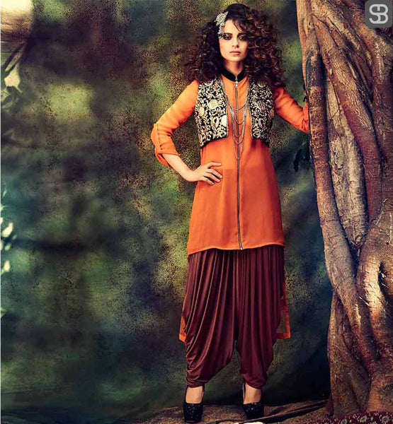 KANGANA RANAUT IN PATIALA SALWAR CONTRAST KAMEEZ AND TRENDY JACKET ORANGE GEORGETTE SUIT WITH STUNNING SHORT KOTTI AND BROWN LYCRA PATIALA SALWAR