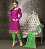 SHALWAR KAMEEZ DESIGNS OF BOLLYWOOD FASHION BEAUTIFUL DRESSES COLLECTION ONLINE HANDERI FABRIC RANI KAMEEZ WITH GREEN COTTON SALWAR AND NAZNEEN DUPATTA