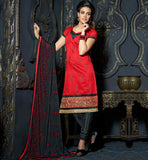 ELEGANT OFFICE WEAR CHANDERI SALWAR KAMEEZ SUITS TRENDY DUPATTA
