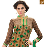 GORGEOUS GREEN IN SALWAR KAMEEZ BANDGALA COLLAR DESIGN THIS KAMEEZ DECORATED WITH GOLDEN COLOR EMBROIDERY WORK AND THE BORDER WORK AT LOWER PART