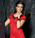 STYLISH RED OFFICE WEAR KURTI WITH BLACK SALWAR AND DUPATTA