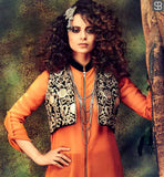 ORANGE GEORGETTE SUIT WITH STUNNING SHORT KOTTI AND BROWN LYCRA PATIALA SALWAR UNIQUE ZIPPER STYLE KURTI WITH SMART COLLAR DESIGN AND EMBROIDERY WORK ON JACKET