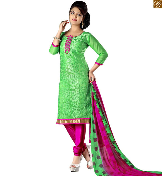 Punjabi suits latest designs shalwar kameez dress for women green cotton amazing heavy floral embroidered shalwar kameez with pink churidar bottom Image