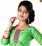 Fabulous green and pink punjabi suits latest designs that will grab attention. This shalwar kameez dress for women can be worn at workplace too green cotton amazing heavy floral embroidered shalwar kameez with pink churidar bottom photo