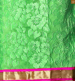 Green cotton amazing heavy floral embroidered shalwar kameez with pink churidar bottom photo
