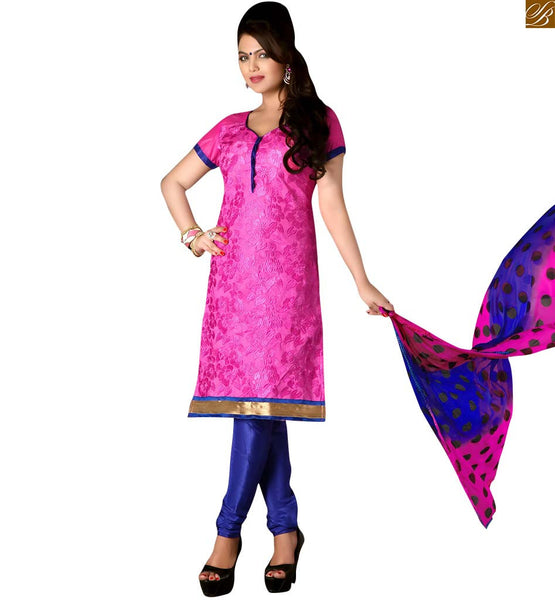 Pakistani dresses punjabi salwar kameez suit boutique fashion pink cotton full floral embroidered salwar kameez with lace border work and blue churidar bottom Image