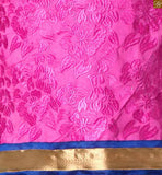 Pink cotton full floral embroidered salwar kameez with lace border work and blue churidar bottom Image
