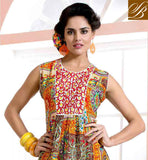SUPER ORANGE COTTON RAYON FABRIC PARTY WEAR DESIGNER KURTIS FOR GIRLS LATEST FASHION PRINTED KURTI, THIS KURTI LOOK LIKE MULTI SMASHING PERSONALITY FOR ANY PARTY