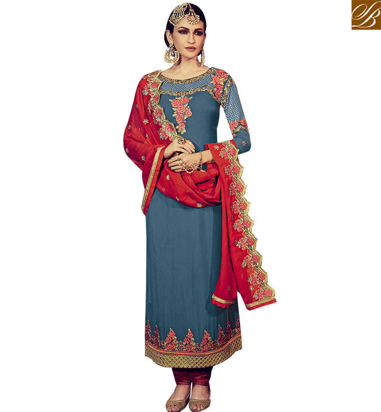 STYLISH BAZAAR BEAUTIFUL BLUE GEORGETTE STRAIGHT CUT SALWAR SUIT HAVING WELL EMBROIDERY ON TOP & DUPATTA RTFRS2004