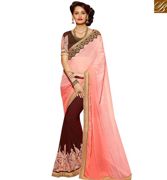 STYLISH BAZAAR INVITING MAROON AND PEACH GEORGETTE PARTY WEAR HALF N HALF DESIGNER SAREE SLARD2004