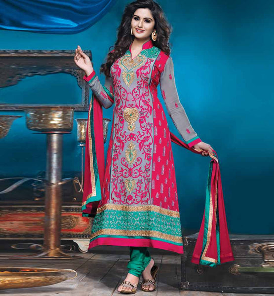 SHOP ONLINE GREY & MAROON EMBROIDERED GEORGETTE STRAIGTH SALWAR KAMEEZ STYLISHBAZAAR