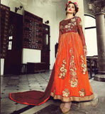 ANARKALI DRESSES 2015 BUY AT REASONABLE PRICE OUTSTANDING ORANGE PARTY WEAR DRESS WITH HEAVY ZARI, SILK THREADWORK, EMBROIDERY BUTTA WITH STONE WORK AND LACE BORDER WORK